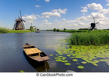 wiatrak, niderlandy, kinderdijk, krajobraz
