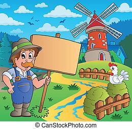 wiatrak, rolnik, znak