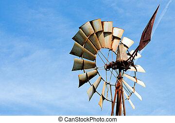 wiatrak uprawiają, zardzewiały, stary, wiejski