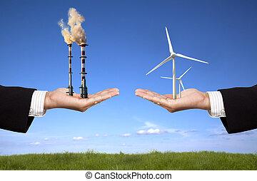wiatraki, dzierżawa, energia, powietrze, rafineria, czysty, biznesmen, concept., skażenie