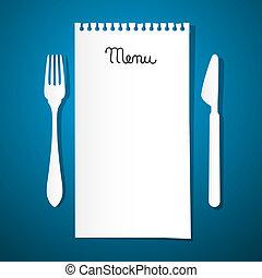 widelec, błękitny, restauracyjny jadłospis, papier, tło, nóż