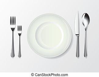 widelec, biały, nóż, płyta, łyżka