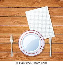 widelec, listek, płyta, drewniany, jasny, ilustracja, wektor, stołowy nóż