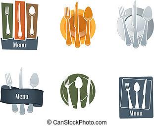 widelec, logo, łyżka, restauracja