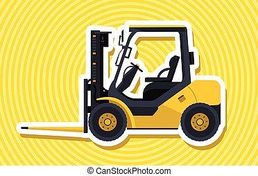 widelec, outline., załadowczy, żółty, ładowacz, machinery., dźwig, material., zbudowanie