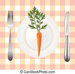 widelec, płyta, piknik, marchew, tablecloth, nóż