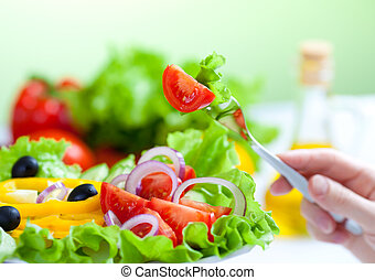 widelec, sałata, zdrowe jadło, roślina, świeży