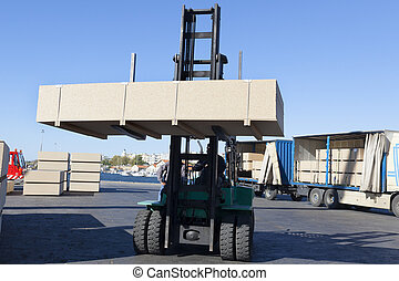 widelec, samochód ładunku, lifter, boks, zielony