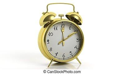 widelec, złoty, zegar, alarm, odizolowany, tło., retro, poinets, biały, nóż