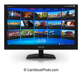 widescreen, video, ganek, telewizja, płynący