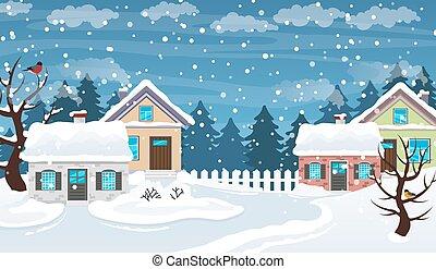 wieś, zima scena