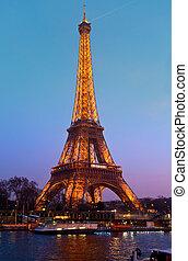 wieża, 31, (it, -, eiffel, paryż, paryż, prospekt, urodziny, świąteczny, oświetlenie, sieć, france., 1889), molo, 2012, 31:, marzec, otwarty, 31