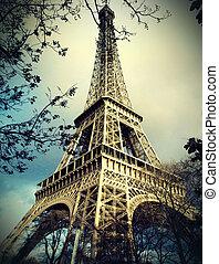 wieża, eiffel, paryż