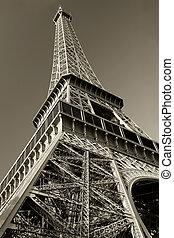 wieża, eiffel, sepia