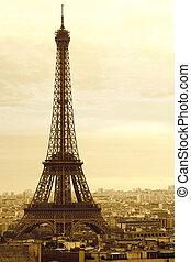 wieża, eiffel, stary