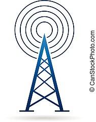wieża, logo., ilustracja, fale, antena, wektor, graficzny zamiar