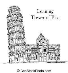 wieża, nachylenie, pisa