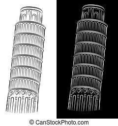 wieża, nachylenie, rysunek, pisa