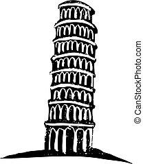 wieża, pisa, nachylenie