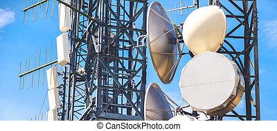 wieża, poziomy, pylony, media, masa, tło, antena
