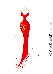 wieczorny strój, hangary, czerwony