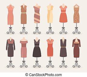 wieczorny, zakupy, cocktail, collection., mannequins., kobieta, suknie, komplet, fason, stroje
