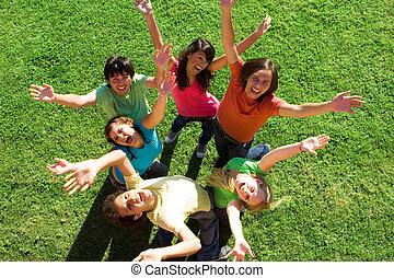 wiek dojrzewania, rozmaity, grupa, szczęśliwy