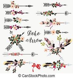 wielka ręka, pociągnięty, komplet, kwiaty, strzały, boho