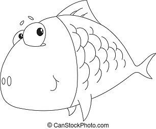 wielka ryba, konturowany