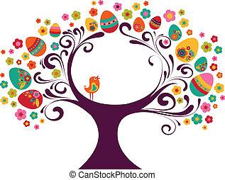 wielkanoc, drzewo, tło