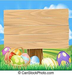 wielkanoc, polować, jajko, rysunek