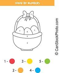 wielkanoc, słoma, eggs., strona, kosz, kolorowanie