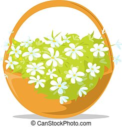 wielkanocny kosz, -, wiosna, wektor, kwiaty, pełny, ilustracja