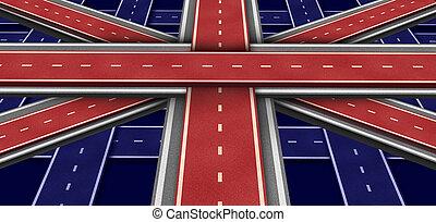 wielki, bandera, britain, szosa