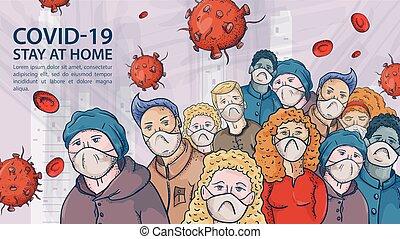 wielki, bardzo, kontur, ilustracja, maski, coronavirus, ostrzeżenie, covind, napis, tłum, molekuły, 2019-ncov, ludzie, wirus, czerwony, medyczny
