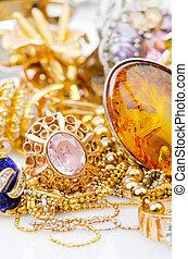 wielki, biżuteria, złoty, zbiór