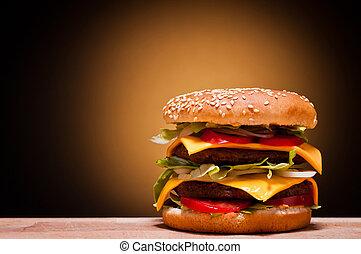 wielki, hamburger