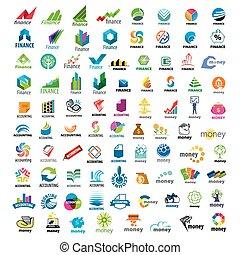 wielki, logos, komplet, finanse, wektor