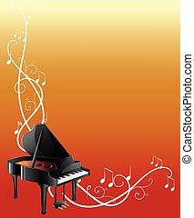 wielki, tło, szablon, piano