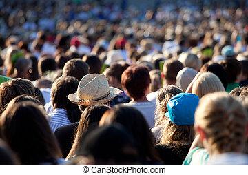 wielki, tłum, ludzie