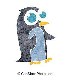 wielkie wejrzenie, pingwin, retro, rysunek
