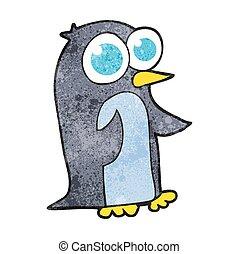 wielkie wejrzenie, pingwin, rysunek, textured