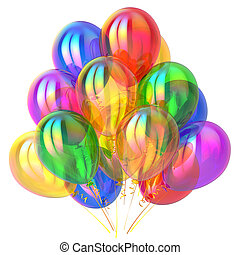 wielobarwny, ozdoba, urodziny, połyskujący, partia, balony