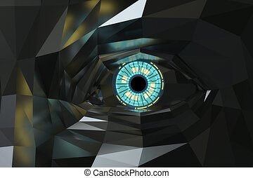 wielobok, metaliczny, sci-fi, oko, sztuczny