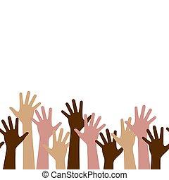 wielonarodowy, seamless, do góry, teamwork, ludzie, poziomy, drużyna, multicultural, próbka, siła robocza, tłum