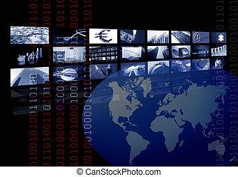 wieloraki, handlowy, ekran, mapa, zbiorowy, świat