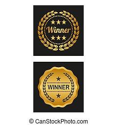 wieniec, laur, versions., zwycięzca, dwa