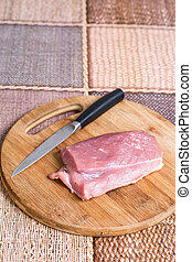 wieprzowina, mięso, surowy, cięcie deska, nóż
