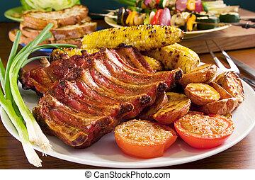 wieprzowina, warzywa, opieczony, wręgi