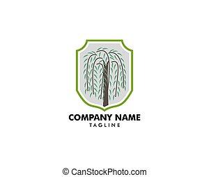 wierzba, logo, symbol, drzewo, wektor